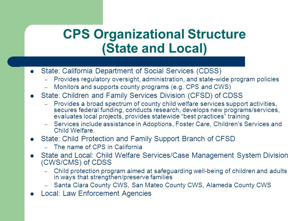 CPS Organizational Structure (State and Local)