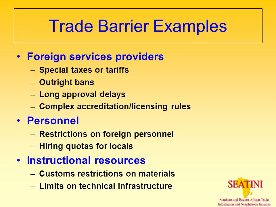 Trade Barrier Examples