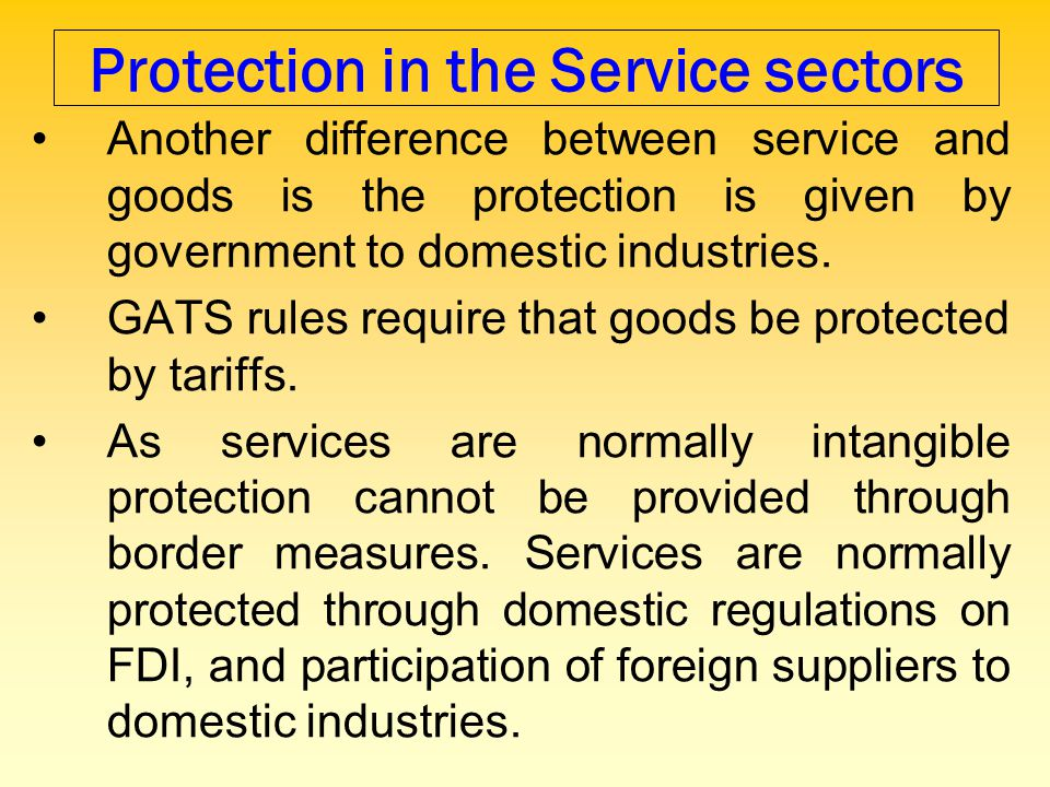 Protection in the Service sectors