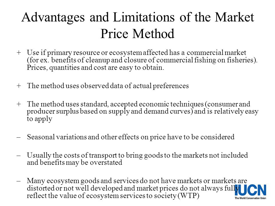 Advantages and Limitations of the Market Price Method