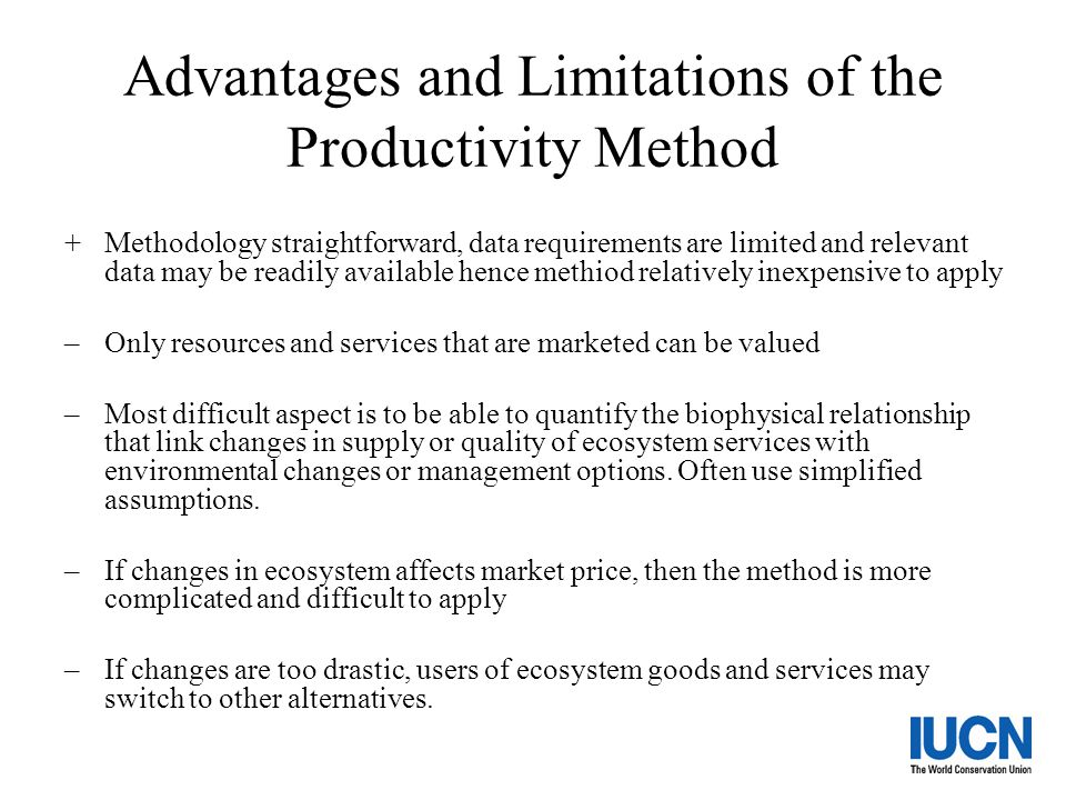 Advantages and Limitations of the Productivity Method