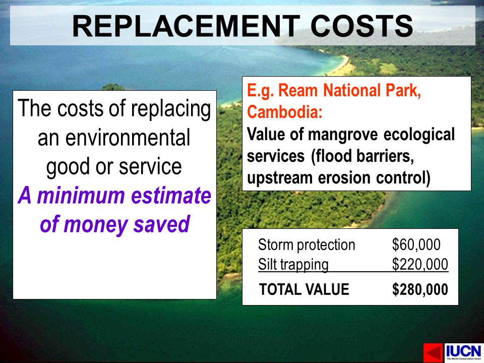 REPLACEMENT COSTS E.g. Ream National Park, Cambodia: Value of mangrove ecological services (flood barriers, upstream erosion control)
