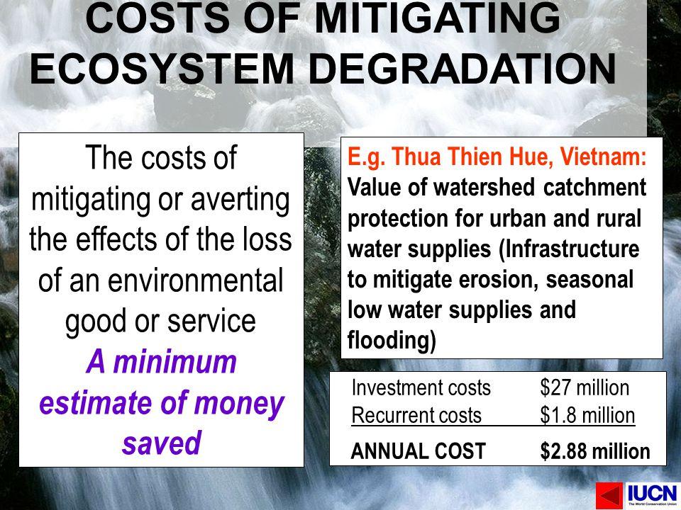 COSTS OF MITIGATING ECOSYSTEM DEGRADATION