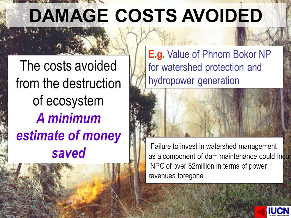 DAMAGE COSTS AVOIDED E.g. Value of Phnom Bokor NP for watershed protection and hydropower generation.