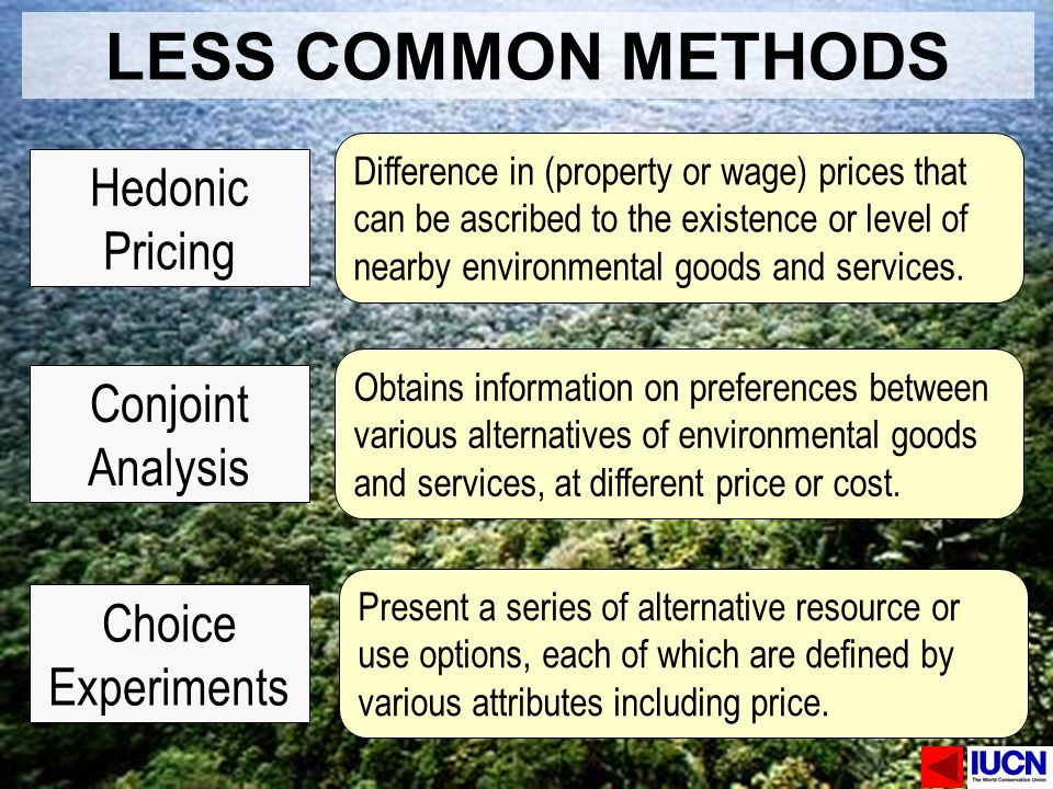 LESS COMMON METHODS Hedonic Pricing Conjoint Analysis