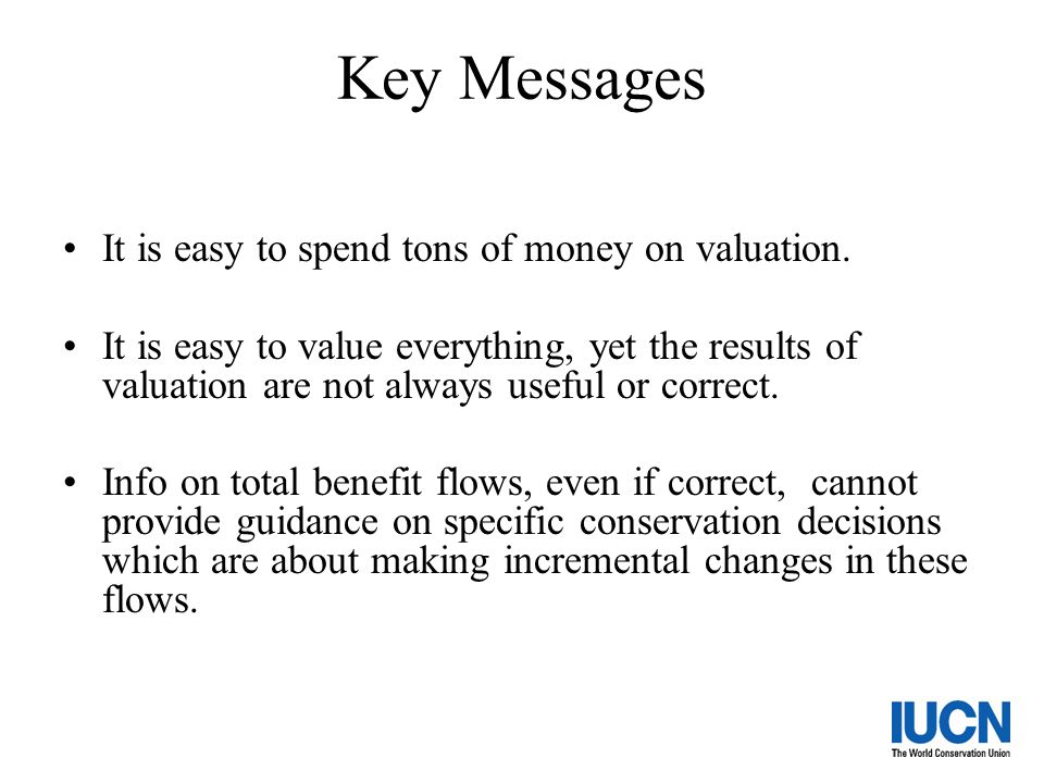 Key Messages It is easy to spend tons of money on valuation.