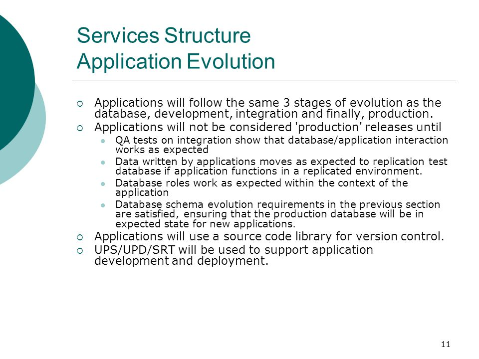 Services Structure Application Evolution