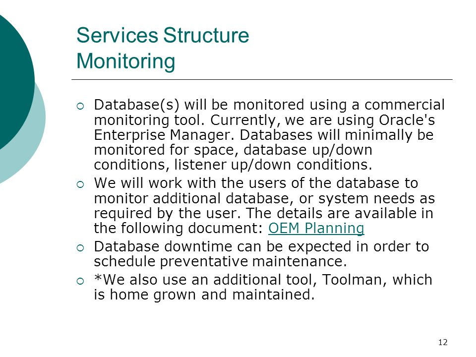 Services Structure Monitoring