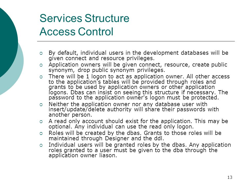 Services Structure Access Control