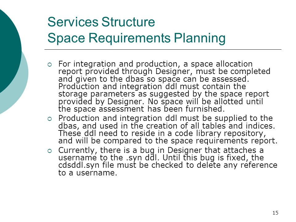 Services Structure Space Requirements Planning