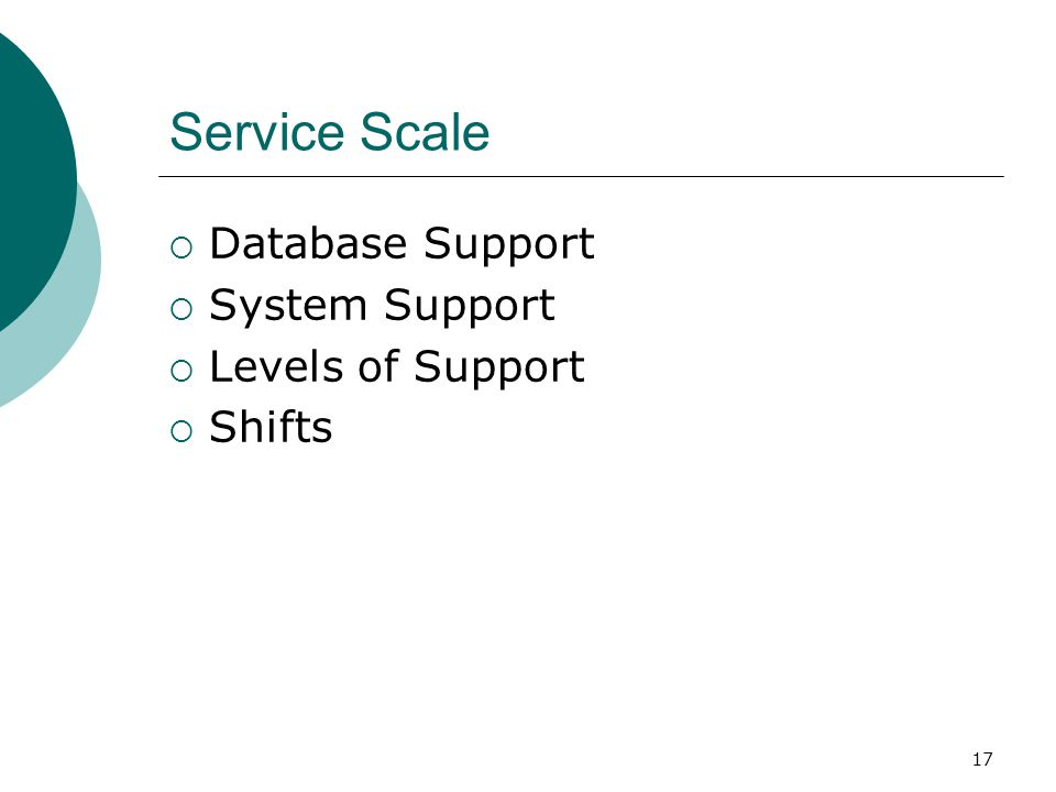 Service Scale Database Support System Support Levels of Support Shifts