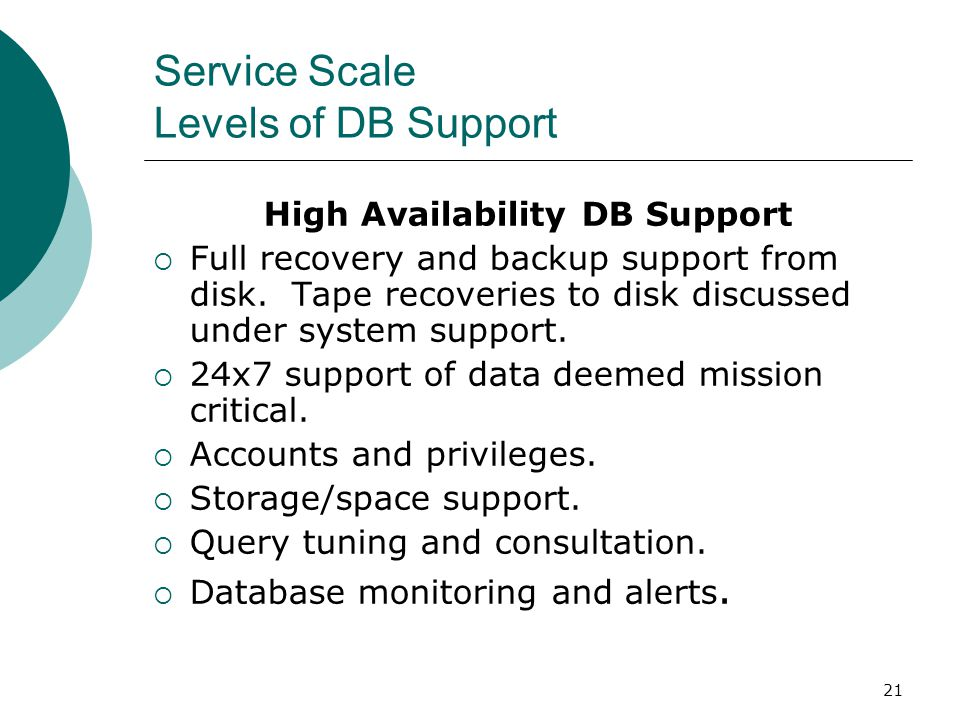 Service Scale Levels of DB Support
