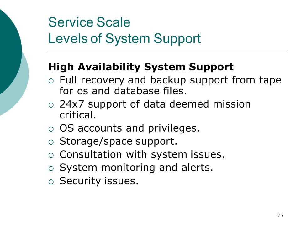 Service Scale Levels of System Support