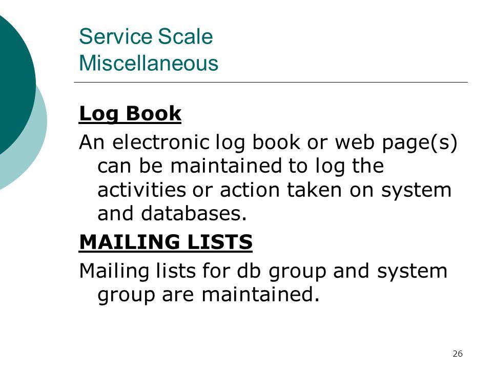Service Scale Miscellaneous