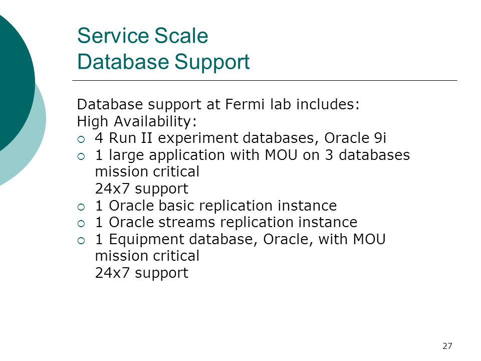 Service Scale Database Support