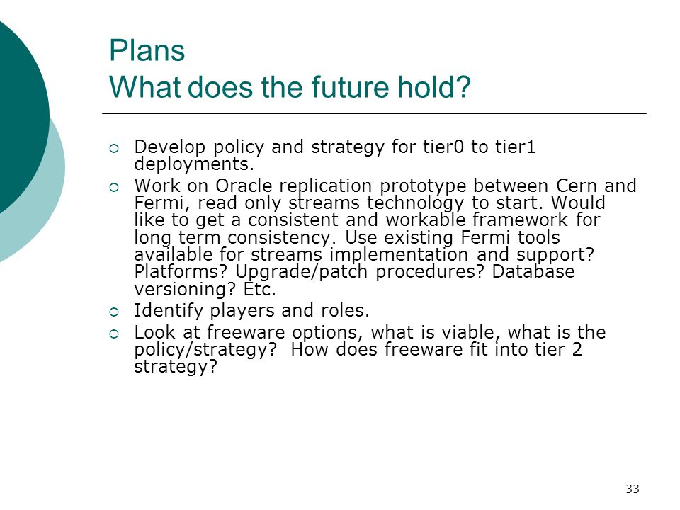 Plans What does the future hold