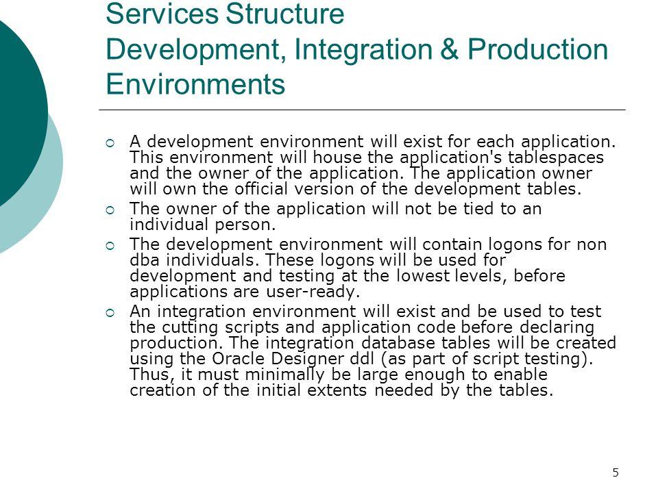 Services Structure Development, Integration & Production Environments