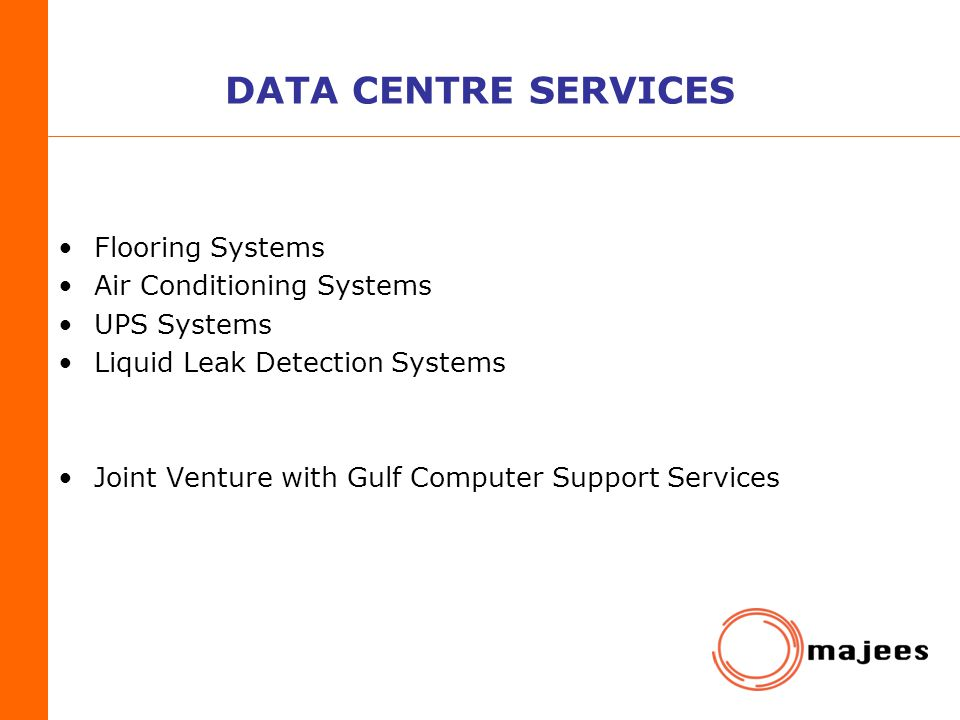 DATA CENTRE SERVICES Flooring Systems Air Conditioning Systems