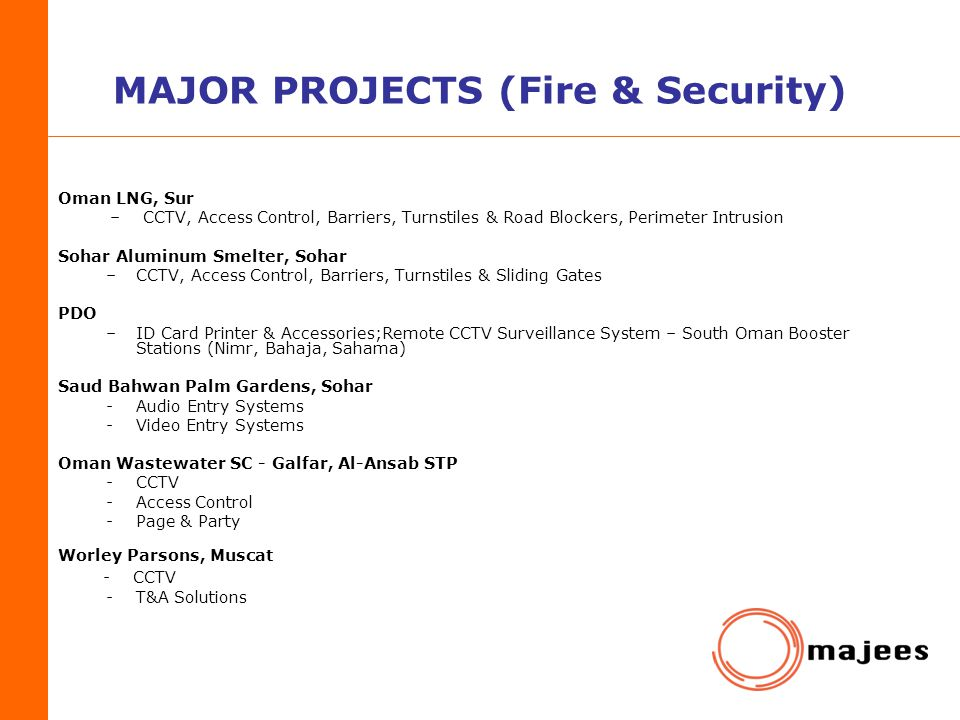 MAJOR PROJECTS (Fire & Security)