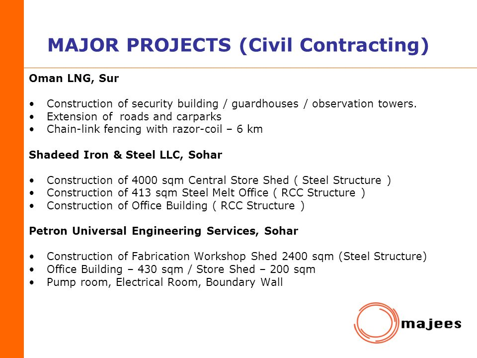 MAJOR PROJECTS (Civil Contracting)