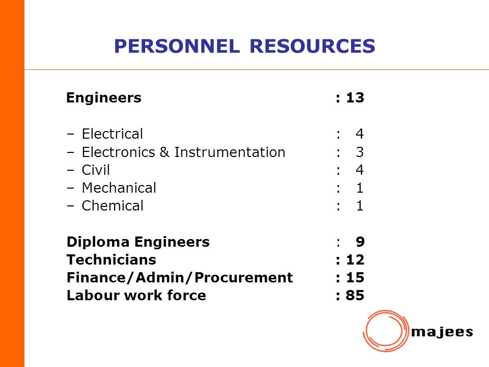 PERSONNEL RESOURCES Engineers : 13 Electrical : 4