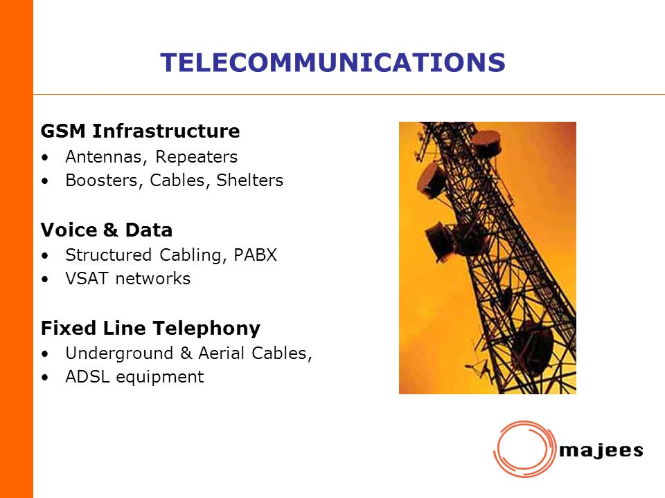 TELECOMMUNICATIONS GSM Infrastructure Voice & Data