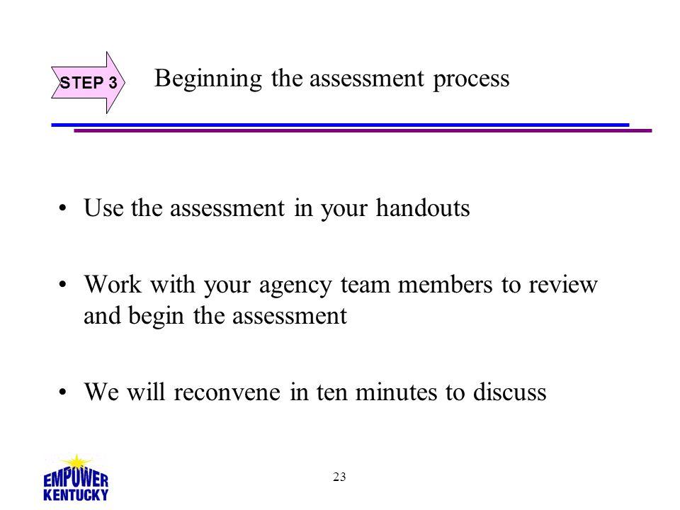 Beginning the assessment process