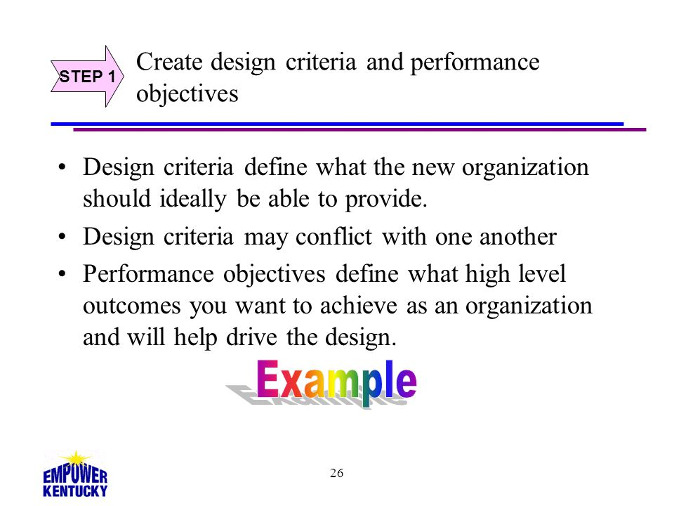 Create design criteria and performance objectives
