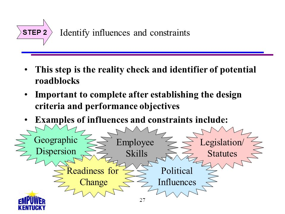 Identify influences and constraints