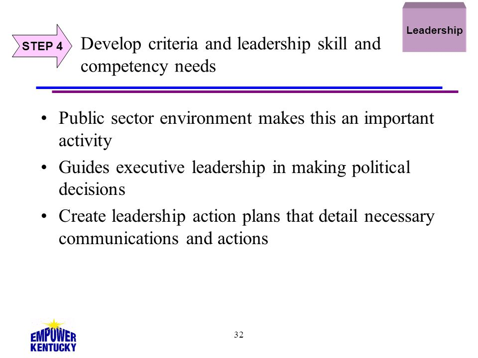 Develop criteria and leadership skill and competency needs
