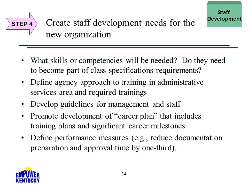 Create staff development needs for the new organization