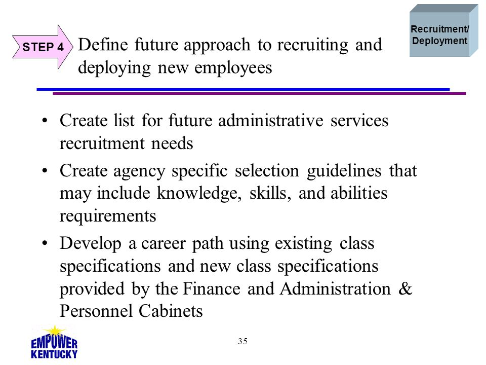 Define future approach to recruiting and deploying new employees