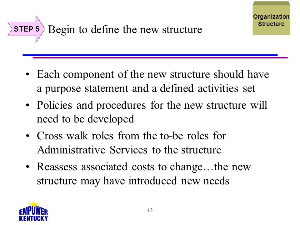 Begin to define the new structure