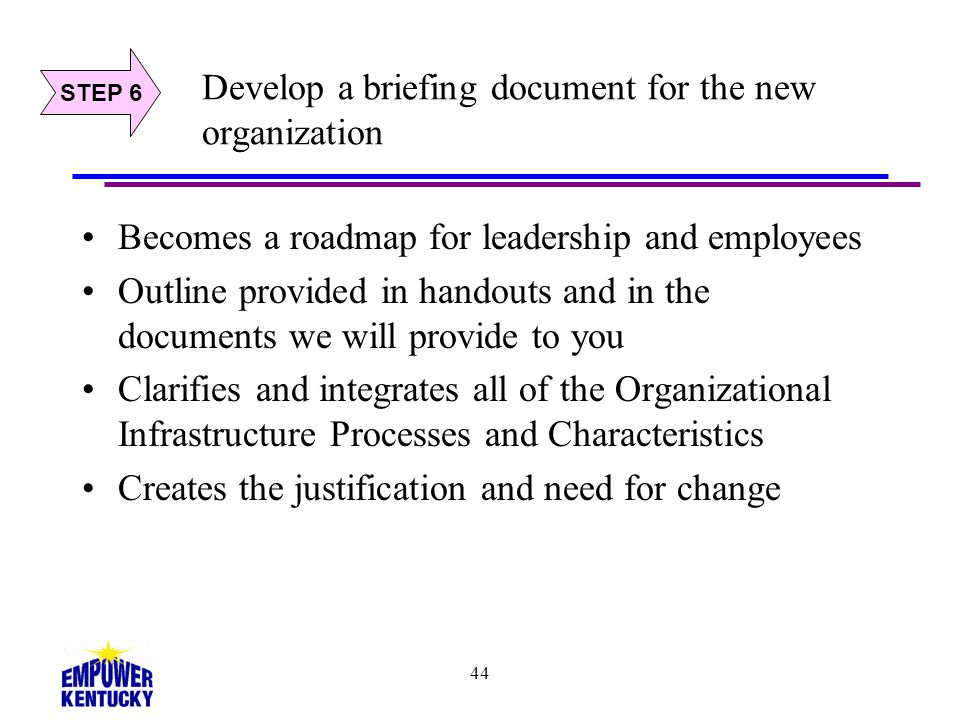 Develop a briefing document for the new organization