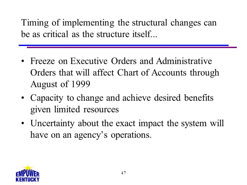 Timing of implementing the structural changes can be as critical as the structure itself...