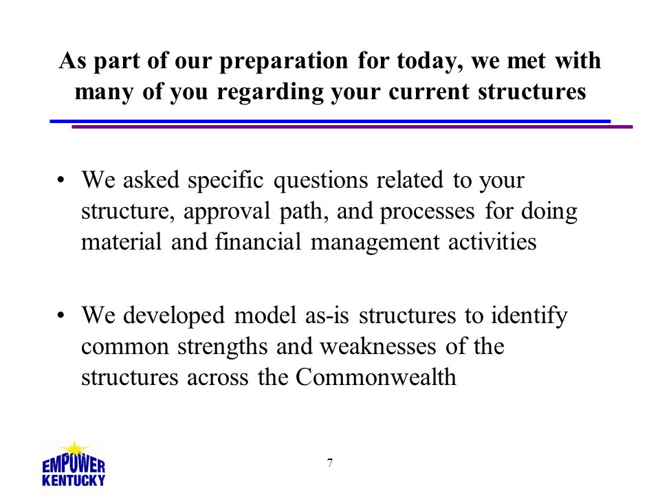As part of our preparation for today, we met with many of you regarding your current structures