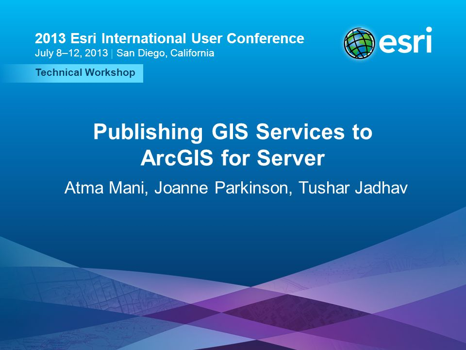 Publishing GIS Services to ArcGIS for Server