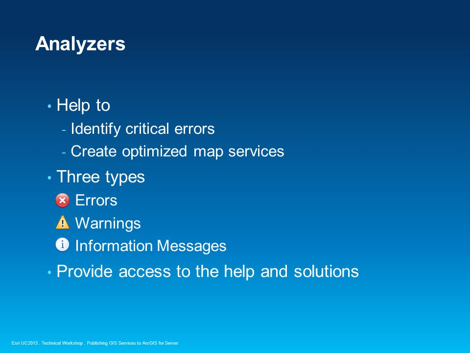 Analyzers Help to Three types Provide access to the help and solutions