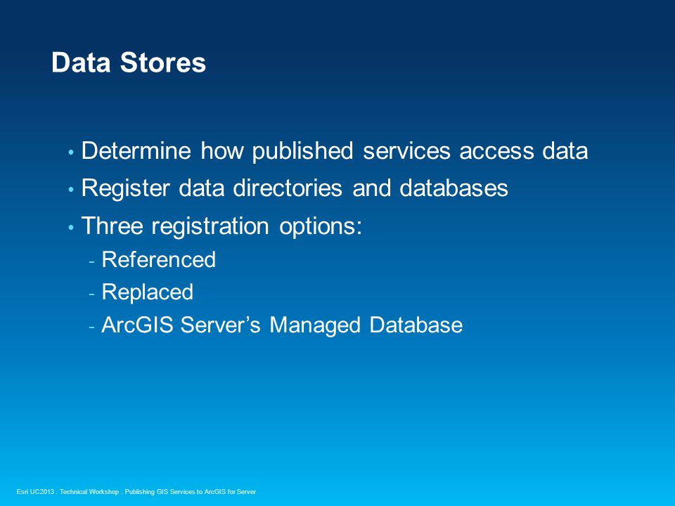 Data Stores Determine how published services access data