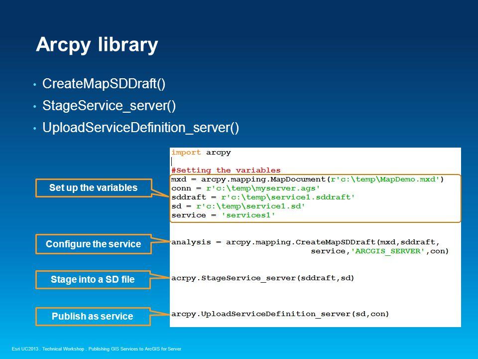 Arcpy library CreateMapSDDraft() StageService_server()