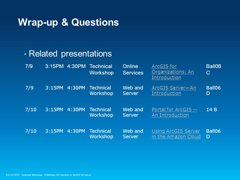 Wrap-up & Questions Related presentations 7/9 3:15PM 4:30PM