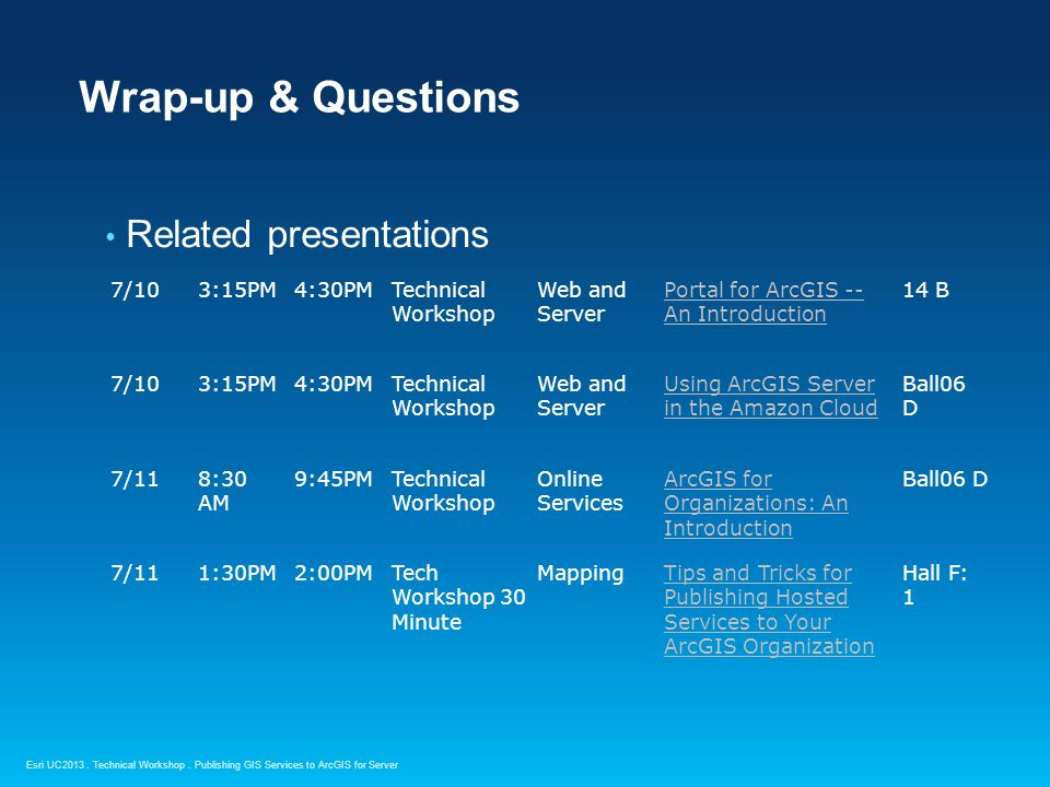 Wrap-up & Questions Related presentations 7/10 3:15PM 4:30PM