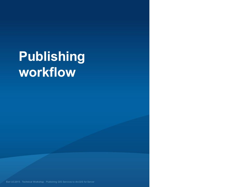 Publishing workflow Publishing GIS Services to ArcGIS for Server