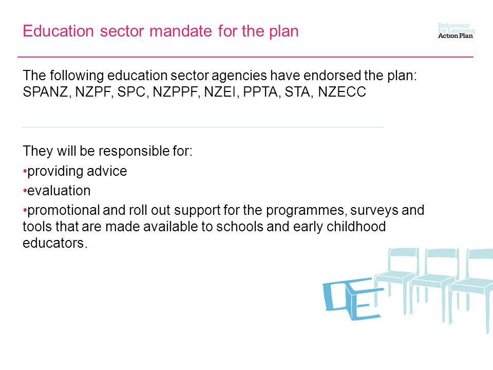 Education sector mandate for the plan