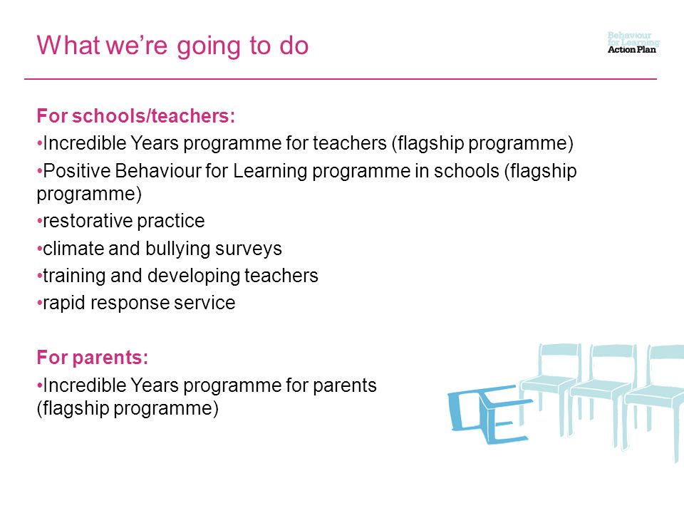 What we're going to do For schools/teachers: