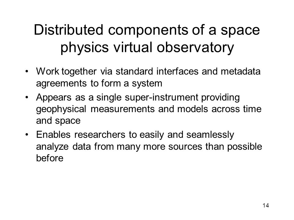 Distributed components of a space physics virtual observatory