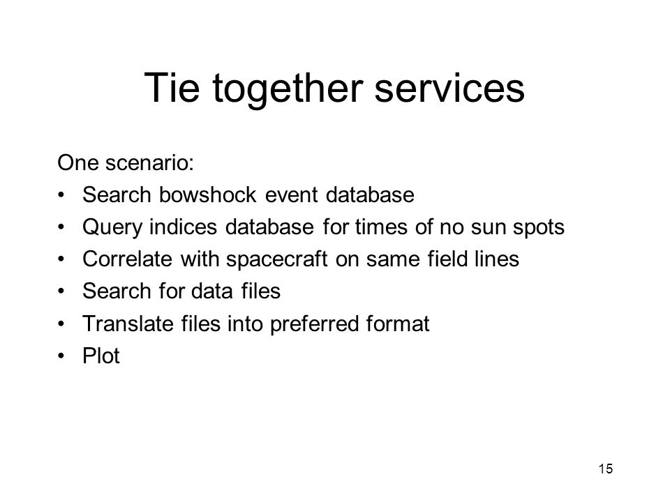 Tie together services One scenario: Search bowshock event database