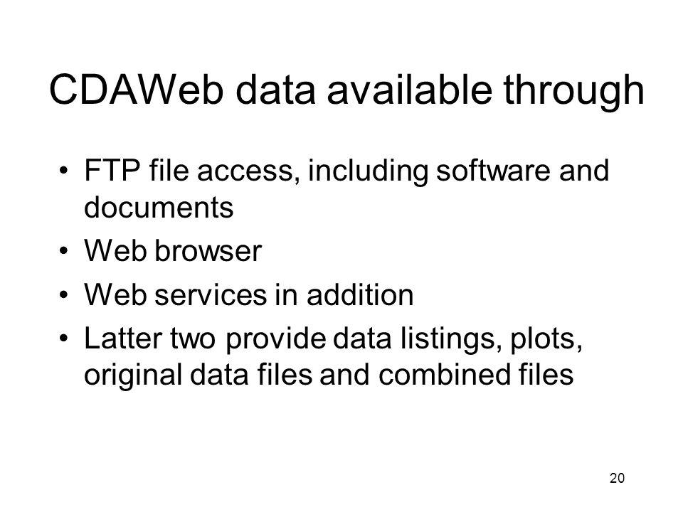 CDAWeb data available through