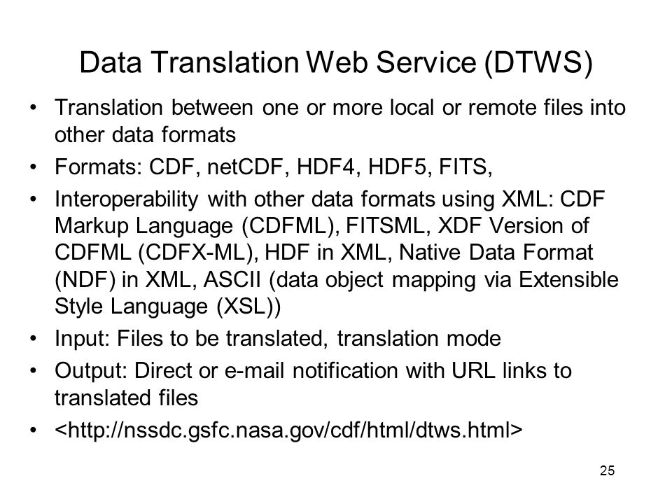 Data Translation Web Service (DTWS)