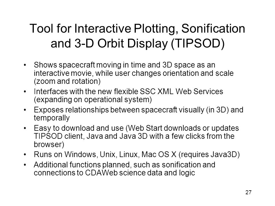 Tool for Interactive Plotting, Sonification and 3-D Orbit Display (TIPSOD)